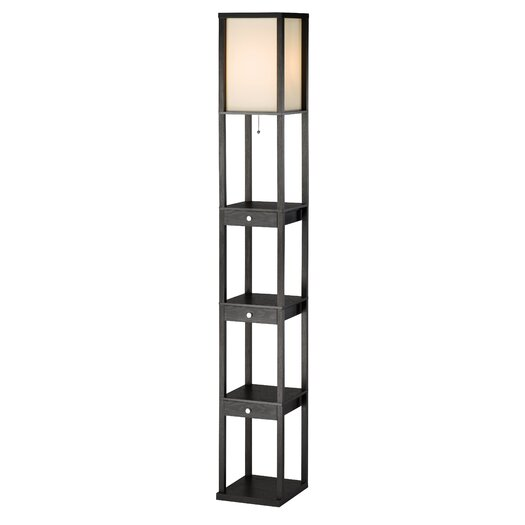 Adesso Murray Three Drawer Shelf Floor Lamp