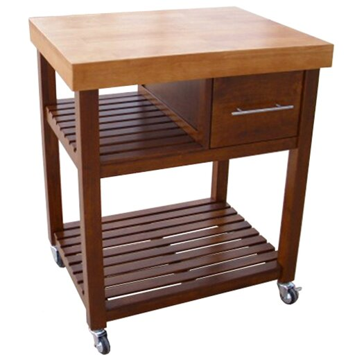 International Concepts Dining Essentials Kitchen Cart with Butcher Block Top