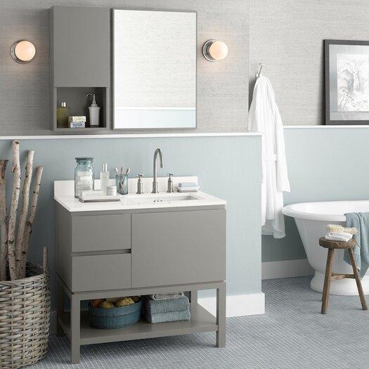"Ronbow Contempo Chloe 37"" W Wood Cabinet Slate Gray Vanity Set"