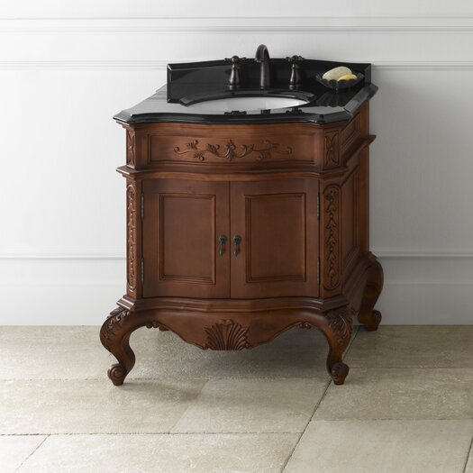 "Ronbow Vintage Bordeaux 32"" W Antique Style Colonial Cherry Vanity Base"