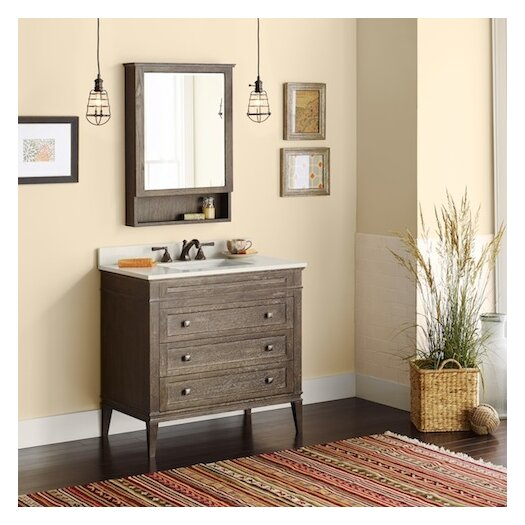 "Ronbow Neo-Classic Laurel 36.6"" W Wood Cabinet Vintage Café Vanity Set with Wide White Vanity Top"