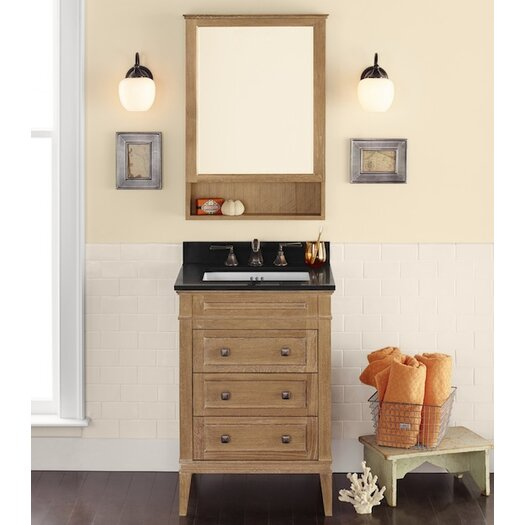 "Ronbow Neo-Classic Laurel 24.56"" W Wood Cabinet Vintage Honey Vanity Set with Broad Black Top"