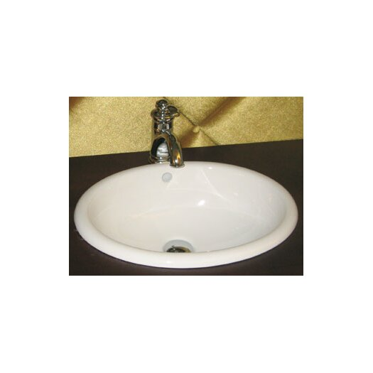 Ronbow Oval Semi Recessed Ceramic Vessel Bathroom Sink with Overflow