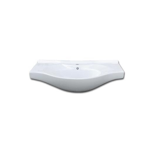 Ronbow Euro Style Overhang Ceramic Bathroom Sink with Overflow and Single Faucet Hole