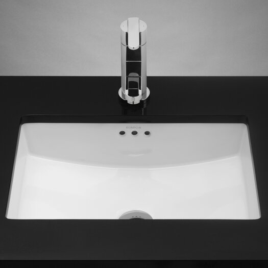 "Ronbow Rectangle Ceramic 19.125"" W Undermount White Bathroom Sink with Overflow"