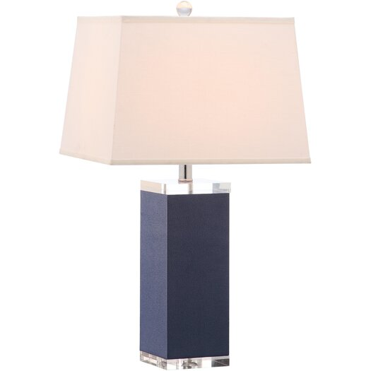 "Safavieh Mirage Leather 25.5"" H Table Lamp with Rectangular Shade"