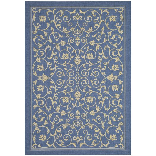 Safavieh Courtyard Floral Blue/Natural Outdoor/Indoor Area Rug