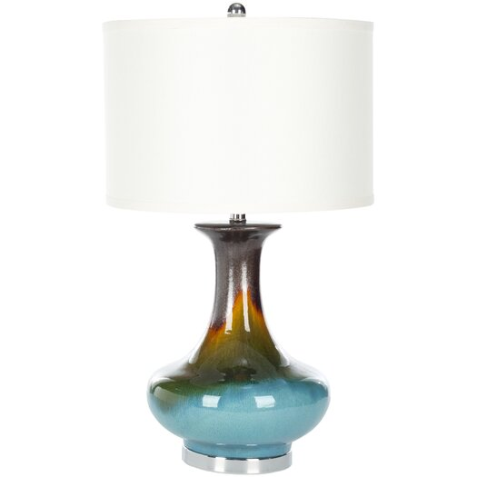 "Safavieh Reactive Glazing 30"" H Table Lamp with Drum Shade"