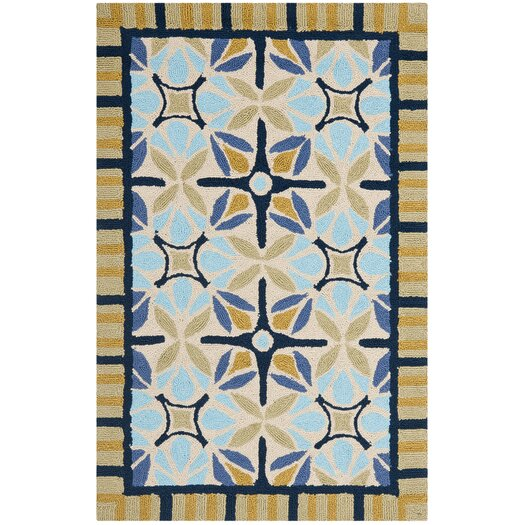 Safavieh Four Seasons Tan/Blue Outdoor Area Rug