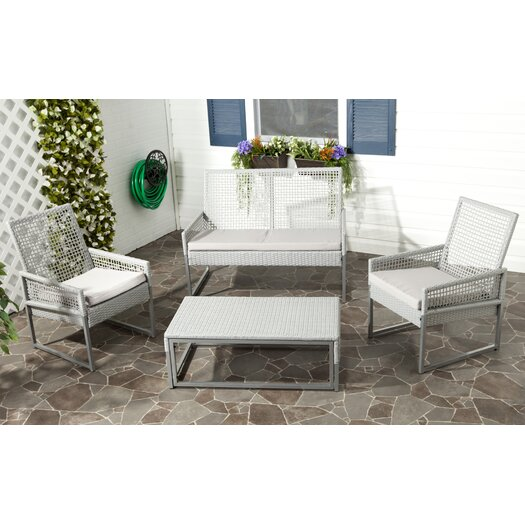 Safavieh Shawmont 4 Piece Deep Seating Group with Grey Cushions