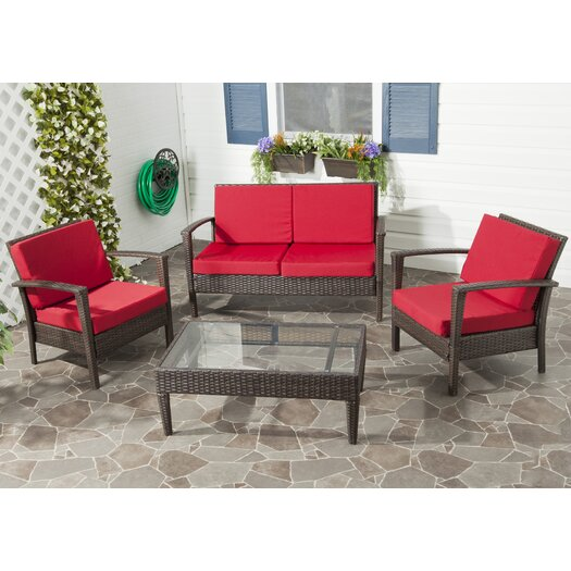 Safavieh Piscataway 4 Piece Deep Seating Group in Brown with Cushions