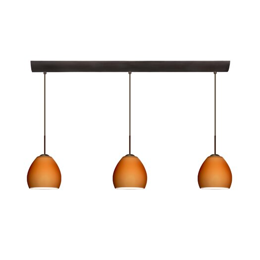 Besa Lighting Bolla 3 Light Mini Pendant with Bar Canopy