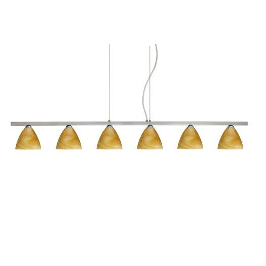 Besa Lighting Mia 6 Light Cable Hung Linear Pendant