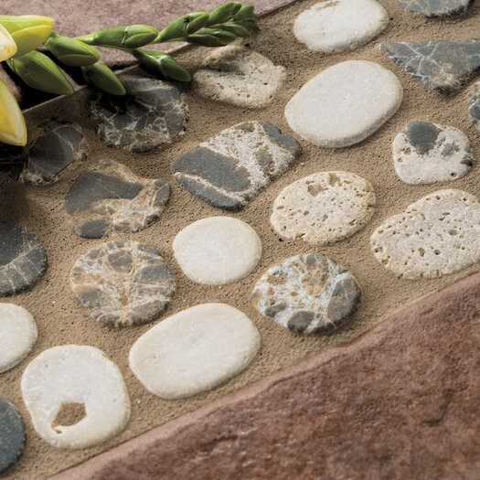 "Mohawk Flooring Rustic Riverstone 12"" x 4"" Pebble Decorative Border in Earth"