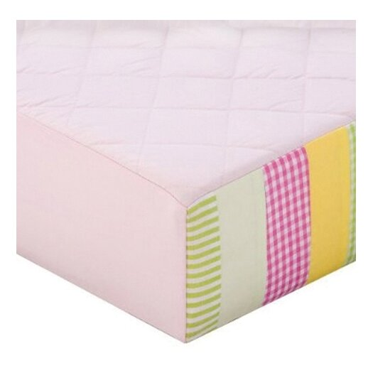 Bacati Girls Stripes and Plaids Quilted Changing Pad Cover