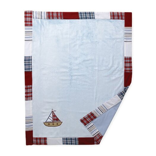 Bacati Boys Stripes and Plaids Soft Velour Blanket with Embroidery
