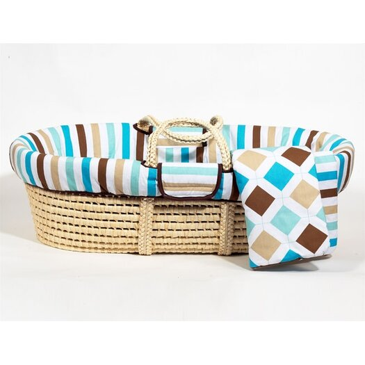 Bacati Mod Diamonds and Stripes Moses Basket