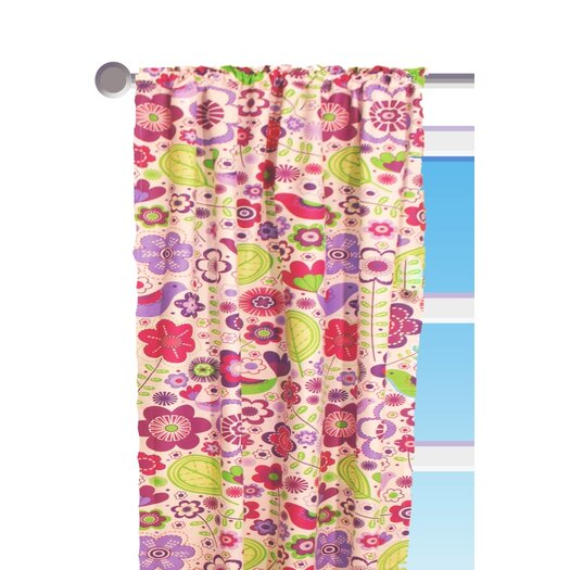 Bacati Botanical Purple Floral Cotton Rod Pocket Curtain Panel