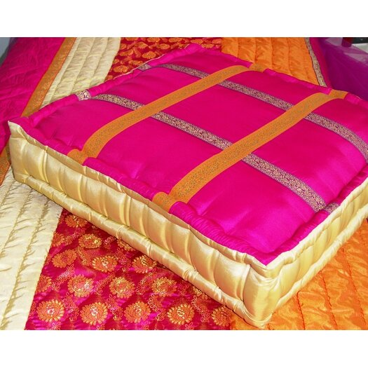 Bacati Tangerine Floor Square Pillow