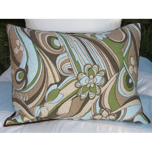 Bacati Retro Flowers Quilted Standard Sham
