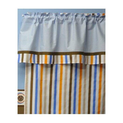 Bacati Mod Sports Stripes Cotton Rod Pocket Curtain Panel