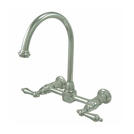Elements of Design Heritage Double Handle Wall Mount Bridge Kitchen Faucet with Metal Lever Handles