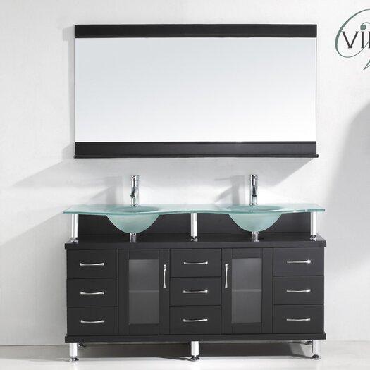 "Virtu Rocco 61"" Double Bathroom Vanity Set with Mirror"