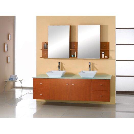 "Virtu Clarissa 72"" Double Bathroom Vanity Set with Mirror"