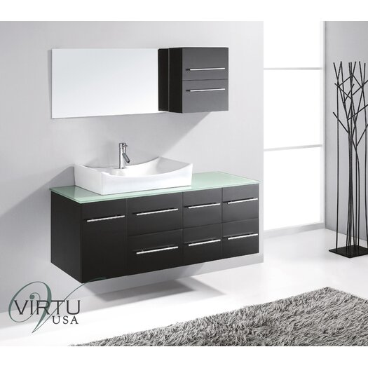 "Virtu Ultra Modern 55"" Ceanna Wall Mounted Single Bathroom Vanity Set"