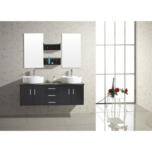 """Virtu Enya 59"""" Double Bathroom Vanity Set with Mirror"""