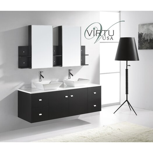 "Virtu Ultra Modern 61"" Clarissa  Double Bathroom Vanity Set"