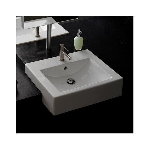 Scarabeo by Nameeks Semi Recessed Single Hole Bathroom Sink