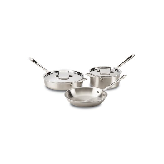 All-Clad Brushed Stainless Steel 5-Piece Pan Set