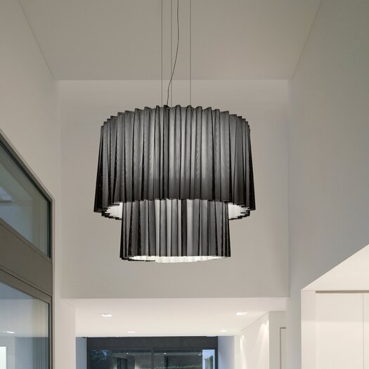 Axo Light Skirt 2 Tier Drum Pendant with Black Netting (Incandescent)