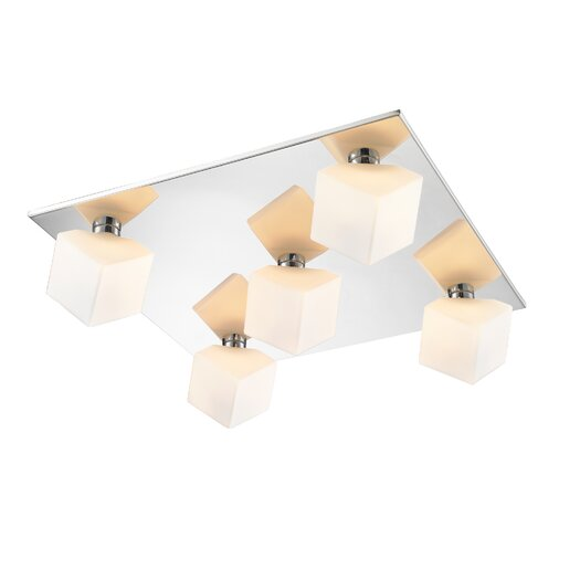 Golden Lighting Volga 5 Light Flush Mount