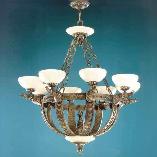 Zaneen Lighting Melilla Eight Light Chandelier in Rustic Bronze