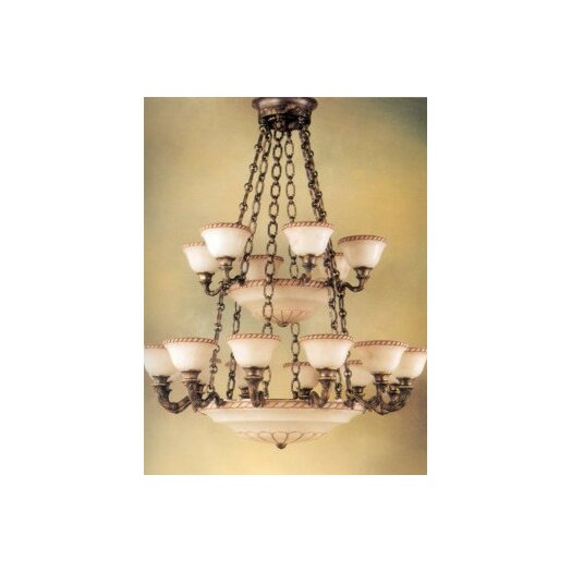 Zaneen Lighting Valencia 27 Light Traditional Chandelier in Aged Bronze