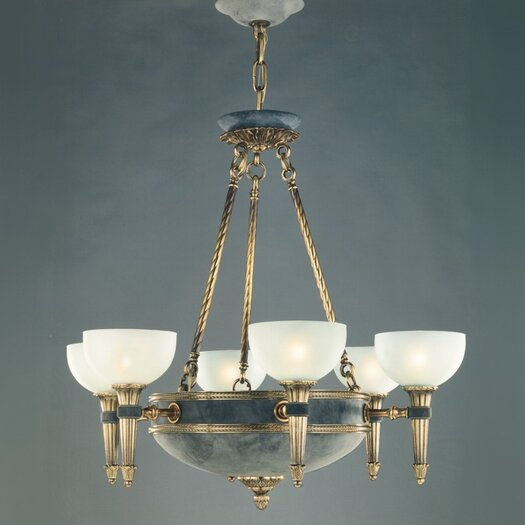 Zaneen Lighting Catalonia Six Light Traditional Chandelier in Antique Brass