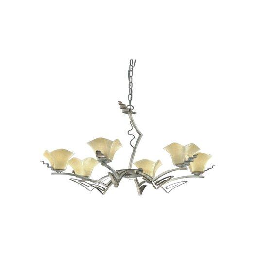 Zaneen Lighting Rovigo Six Light Chandelier in Weathered Silver