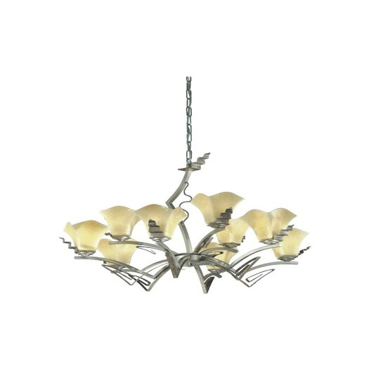 Zaneen Lighting Rovigo Nine Light Chandelier in Weathered Silver