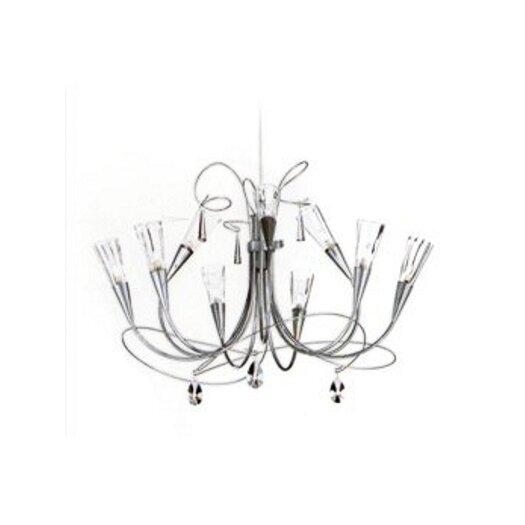 Zaneen Lighting Flute Nine Light Chandelier in Aluminum