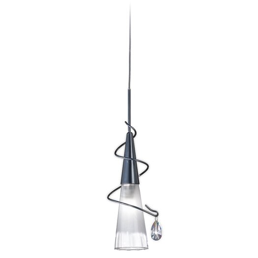 Zaneen Lighting Flute Pendant with Frosted and Clear Glass in Aluminum