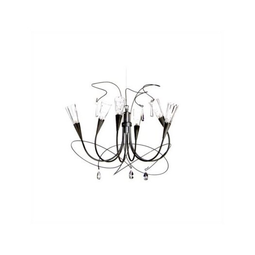 Zaneen Lighting Flute Six Light Chandelier in Aluminum