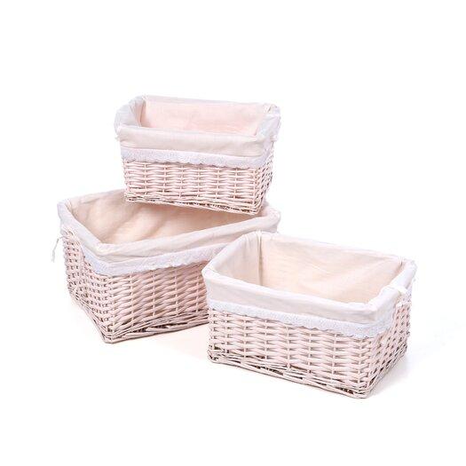 Badger Basket Wicker 3 Piece Basket Set with Liners