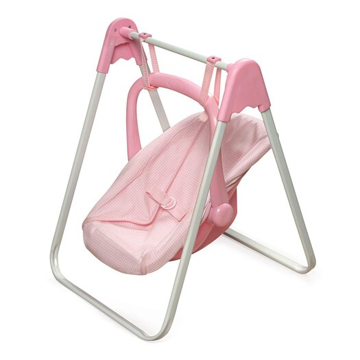 Badger Basket Doll Swing and Carrier in Pink Gingham