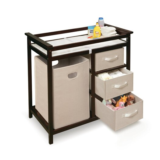 Badger Basket Modern Baby Change Table with 3 Baskets and Hamper