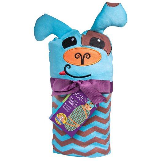Sozo Chevron Puppy Swaddle Blanket and Cap Set