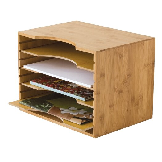 Lipper International Bamboo File Organizer with Four Dividers