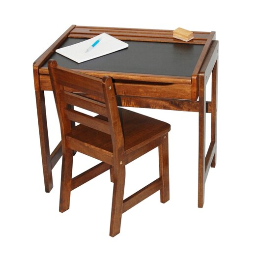 Lipper International Kids' Desk with Chalkboard Top and Chair Set in Walnut