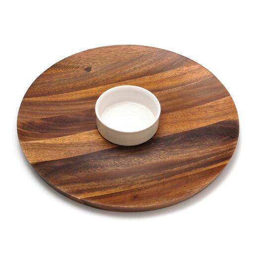 Lipper International Acacia Serveware Round Chip & Dip Tray
